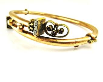 Antique Garnet Bracelet, Victorian Gold Bangle, Bypass Bracelet, Antique Jewelry, Victorian Jewelry