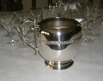 Vintage 1930's Lancaster Silver Co. Silverplate Water Serving Pitcher With Ice Lip