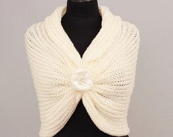 Bridal knitstole knit shawl crochet  capelrt shawl scarf crocheted shrug capelet wrap,creamy ivory