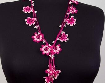 Charm neckalace ,Crochet Strand necklace  jewelry . crochet flower necklace ,Pink ,dark pink, fuchsia