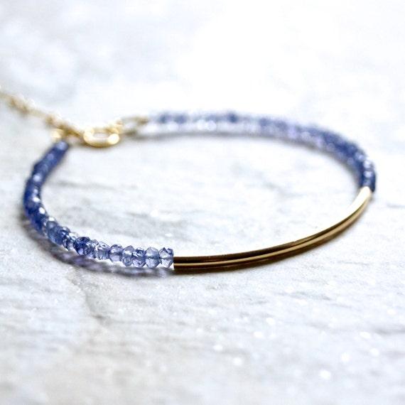 Tanzanite & tube bar beaded bracelet / 14k gold filled