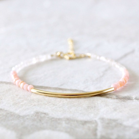 Pink opal ombre bracelet - pink and white - 14k gold filled