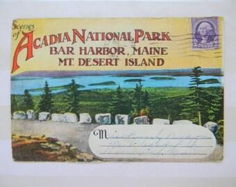 Acadia National Park, Bar Harbor, Mt Desert Island, Maine, Souvenir Photo Mailer, 1934