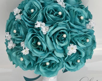 "17 Piece Package Bridal Bouquet Wedding Bouquets Silk Flowers Bridesmaid Turquoise Aqua Emerald GREEN TEAL WHITE ""Lily of Angeles"" TETE01"