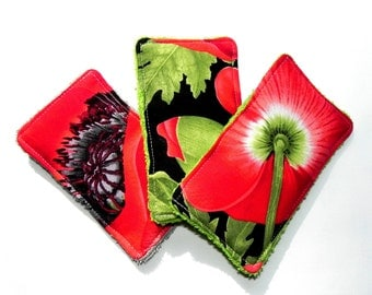 Unsponges - Set of 3 Kitchen, Shower or Bath reusable eco friendly sponges - Poppies in red, green and black