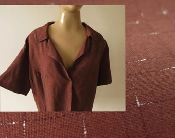1950s vintage chocolate brown flecked cotton blouse shirt size L XL unworn unfinished sewing project homemade 50s