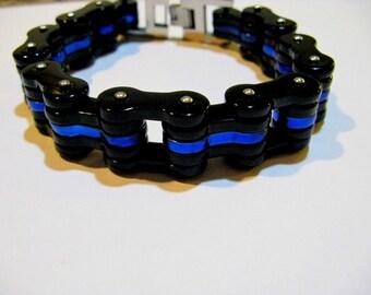 Mens Thin Blue Line Law Enforcement Bracelet By