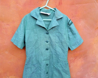 Vintage Mid Century 1960s Girl's Green Girl Scout Uniform Dress. Girls Scouts USA Patch.