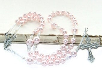 Catholic Rosary Prayer Beads, Pink Pearls for Girls / Baptism, First Holy Communion or Confirmation Rosary Beads