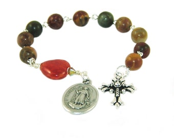Tenner Rosary of St Raphael the Archangel - Jasper and Agate Beads