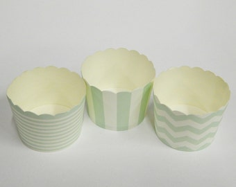 Cupcake Baking Cups, 20 Mint Green Baking Cups, Candy / Nut Cup, Baking Cups, Ring Stripe, Vertical Stripe, Chevron, Muffin Liners, Cupcake