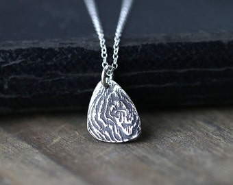 Rustic Woodgrain Necklace, Artisan Jewelry Handmade, Gift for Women, Nature Jewelry, Sterling Silver Necklace for Women, Jewelry by Burnish
