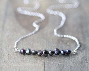 Tiny Black Pearl Silver Necklace / Iridescent Freshwater Pearl Nuggets and Sterling Silver Chain Necklace / Jewelry by Burnish