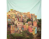 Italy Coast Wall Tapestry. Colorful Cinque Terre. Wall Hanging Fabric. Dorm Décor. Decorative Wall Décor. Wall Hanging. Travel Wall Tapestry