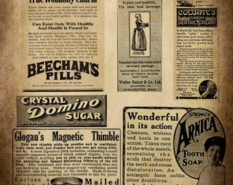Vintage Advertising Collage Sheet - Early 1900's - Scrapbooking Cards Tags Ephemera Digital Arts Download
