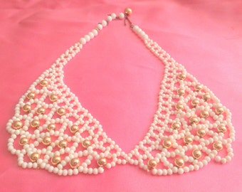 Vintage White and Gold Beaded Bib Style Necklace