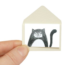 Cat Birthday Card, Black and White Cat Miniature Greeting Card and Tiny Envelope, Black Cat Card, Black Kitty Birthday Card for Cat Lover