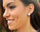 White Crystal Wedding Earrings Bridal Earrings Teardrop Bride Stud Earrings Cluster Earrings Sterling Silver Bridesmaid Gift Wedding Jewelry