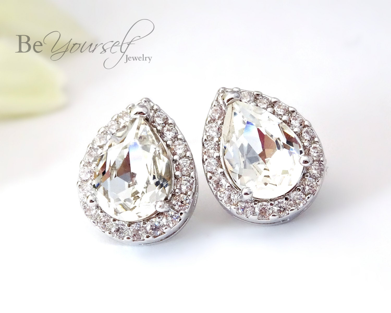 White Crystal Bridal Earrings Teardrop Bride Studs Wedding Jewelry Swarovski Crystal Cluster Earring Bridesmaid Gift Sterling Silver Earring
