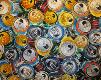 Beer Cans Pop Can Tops Cotton Fabric Fat Quarter or Custom Listing