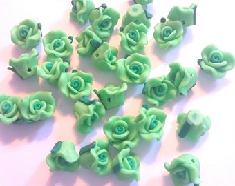 30 flower rose Polymer clay fimo beads green 15mm