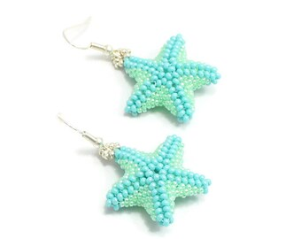 Aqua Starfish Earrings - Beadwork Jewelry - Beach Earrings - Summer Jewelry - Marine Life Earrings - Aqua Green Dangle Earrings