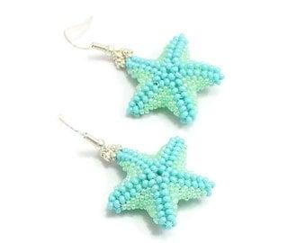 Aqua Starfish Earrings - Beadwork Jewelry - Beach Earrings - Summer Jewelry - Marine Life Earrings - Aqua Green Dangle Earrings