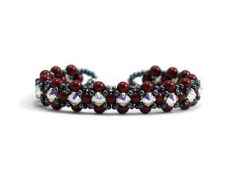 Red Pearl Bracelet - Crystal Beaded Jewelry - Seed Beadwork Bracelet - Bridesmaid Gift - Wedding Jewelry - Bordeaux Bracelet