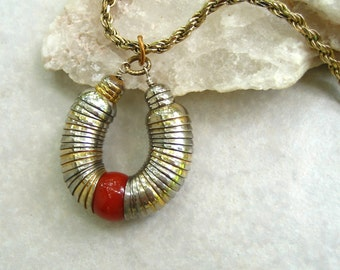 Vintage Vendome Pendant Slinky Gold Silver Discs Red Glass Bead Sterling Silver Chain