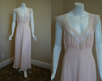 1940s Pink Nightgown, 36, Medium, Bias Cut Gown, Radelle, Acetate and Nylon, New Old Stock