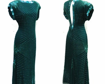 Vintage 80's emerald green sequined cocktail dress - 1980s keyhole back tea length wiggle deco party dress- medium