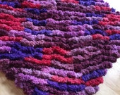 Mini Lovey Sized Pom Pom Blanket, Soft and Cuddly, Purple, Deep Purple, Lavender, and Red Pom-Pom Baby Blanket, Photo Prop