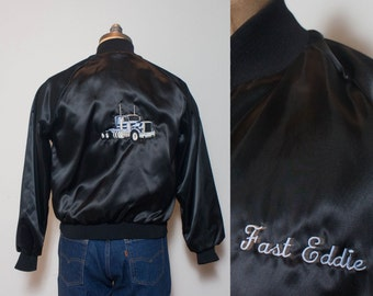 SML | Men's Black Nylon Trucker Jacket w/ Blue Tractor Trailer Embroidery
