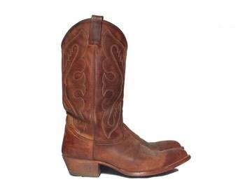 9 1/2 D | Men's Vintage Brown Cowboy Boots 1990's Tony Lama Western Boot
