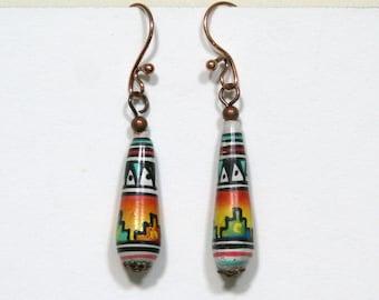 Southwestern Teardrop Clay earrings copper painted