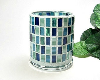 Stained glass mosaic votive candle holder blue green