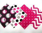 """48 Cotton Flannel 6""""x6"""" Quilt Square Rag Quilt Kit in Pink, Black and White Hello Kitty, Polka Dots and Chevron Prints"""