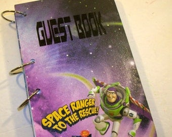 Birthday Guest Book, Toy Story, Buzz Lightyear, Space Party, Boy Birthday Book, Toy Story Party, Toy Story Guest Book