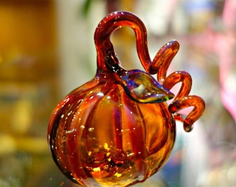 Hand Blown Glass Pumpkin, Honey Amber Art Glass Orange, Halloween, Home Decor, Woodland Decor