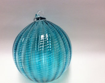 Hand Blown Glass Ornament, Holiday Decor, Christmas Glass Ball Suncatcher, Sea Glass Pale Blue