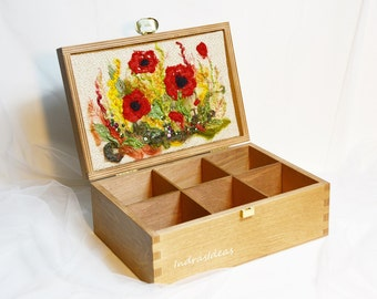 Embroidered Tea Box with poppies Wooden box Tea holder Tea organizer Recipes box Kitchen accessories Christmas gift from mom Gift idea