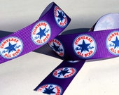 "Purple Converse All Stars 'Chuck Taylor' 7/8"" Wide Grosgrain Ribbon *NOT A LICENSED PRODUCT* - Choose A Length"