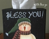 EPATTERN,0056 Bless you tissue box cover, digital download, painting pattern, decorative painting pattern, snowman decor, paint your own,