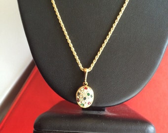 Sweet Oval Clear and Jewel Tone Pave Studded Rhinestone Locket Necklace