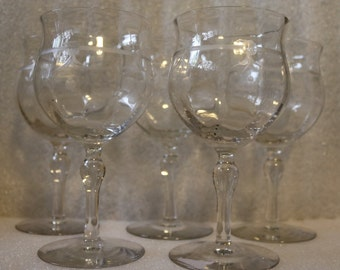 Elegant Glass Goblets Etched Stemware Water Wine 5 Five Flowers Bows Ribbons Etching Clear