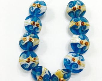 Teal Blue Lampwork Glass Beads, Beach Beads, 20mm, 10 pieces