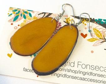 Yellow Tagua-nut Earrings, Boho Jewelry
