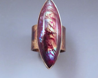 Red Rainbow Labradorite- Multi Color Swirl Patina- One of a Kind- Metal Art RedPaw Statement Ring