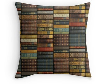 Pair of Bookshelf decorative pillow cases