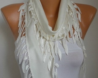 Creamy White Leaf Pashmina Scarf, Cowl Scarf, Necklace,Bridesmaid Gift,Gift Ideas For Her, Women Fashion Accessories,Christmas Gift